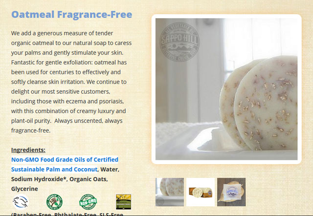 Sappo Hill, グリセリンクリームソープ、オートミール、無香料、12個、各3.5 oz (100 g)