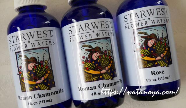 Starwest Botanicals, フラワーウォーター、ローマンカモミール ローズ