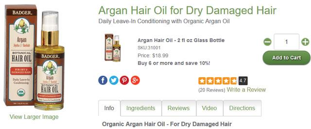 Argan Hair Oil for Dry Damaged Hair バジャー