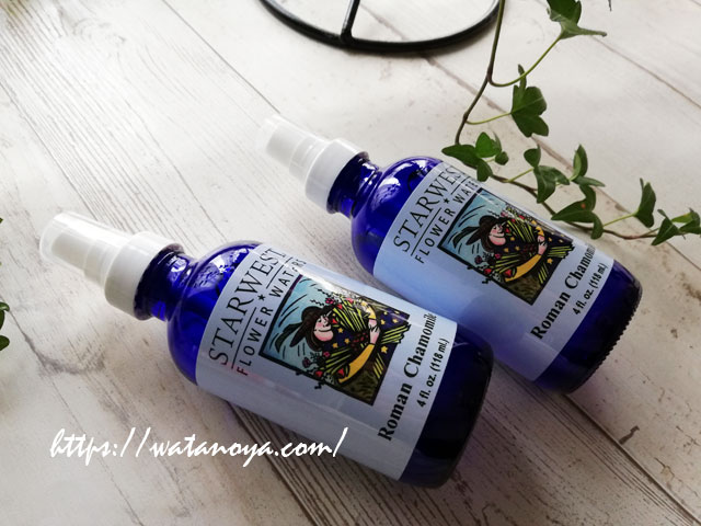 Starwest Botanicals のローマンカモミールフラワーウォーター、青リンゴの香りは肌荒れ、心の疲れを優しく癒す