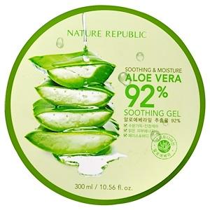 Nature Republic, スムース & モイスチャー アロエベラ 92% 鎮静ジェル、10.56 fl oz (300 ml)