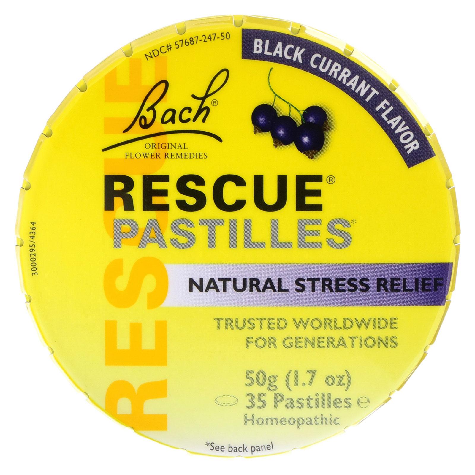 Bach, Original Flower Remedies, Rescue Pastilles, Natural Stress Relief, Black Currant Flavor, 1.7 oz (50 g) Pastilles