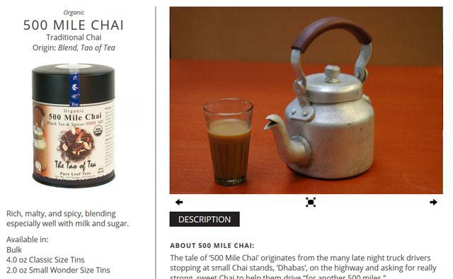 The Tao of Tea, オーガニックブラックティー & スパイス, 500マイル チャイ, 4.0 oz (115 g)