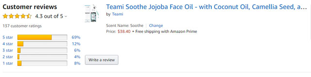 Teami Soothe Jojoba Face Oil - with Coconut Oil, Camellia Seed, and Vitamin E (2oz)