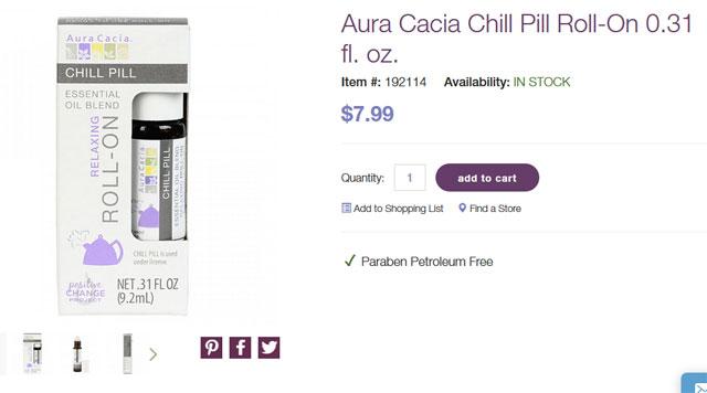Aura Cacia, エッセンシャルオイルブレンド、リラックスロールオン、チルピル、.31液量オンス (9.2 ml)