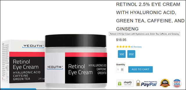 Retinol 2.5% Eye Cream with Hyaluronic acid, Green Tea, Caffeine, and Ginseng
