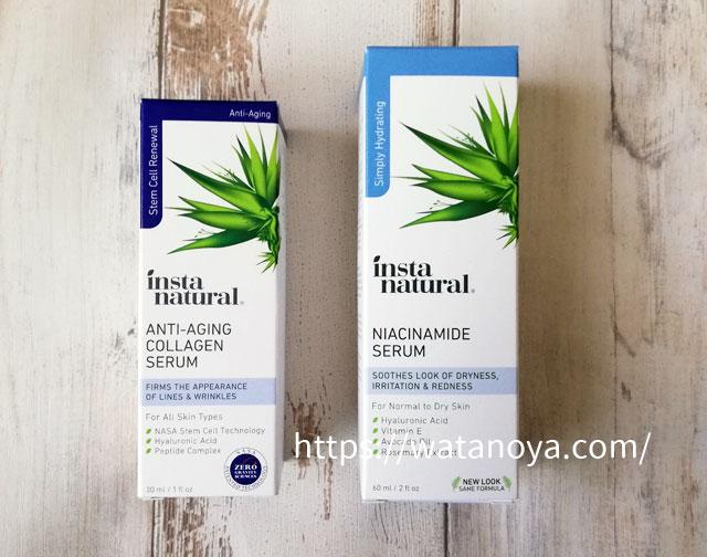 InstaNatural, エイジングケアコラーゲンセラム、30 ml(1 fl oz) InstaNatural, ナイアシンアミド美容液、2 fl oz (60 ml)