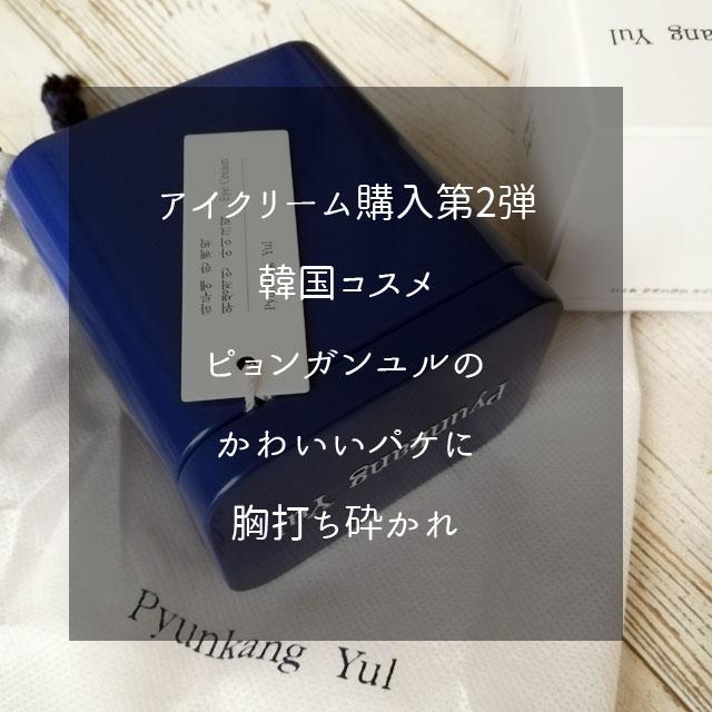 アイクリーム購入第2弾 韓国コスメ ピョンガンユルの かわいいパケに 胸打ち砕かれ