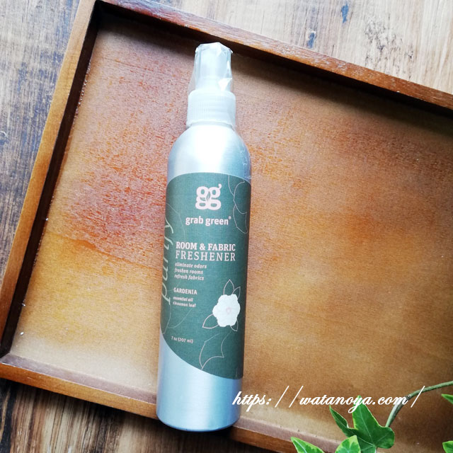 Grab Green, ルーム&ファブリックフレッシュナー、クチナシ、7オンス(207 ml)