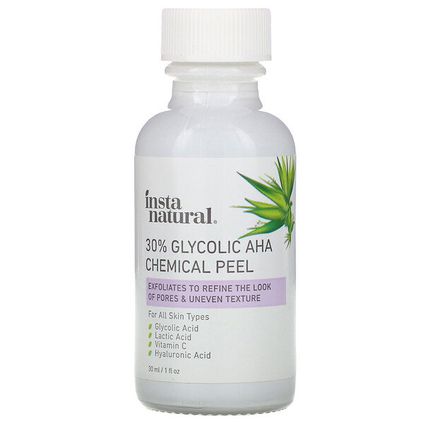InstaNatural, 30% Glycolic AHA Chemical Peel, 1 fl oz (30 ml)