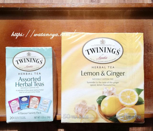 Twinings, アソーテッドハーバルティー、バラエティーパック、カフェインフリー、ティーバッグ20個、34g Twinings, ハーバルティー、レモン&ショウガ、カフェインフリー、ティーバッグ50個入り、75g