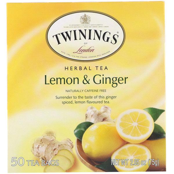 トワイニングス Twinings, ハーブティー、レモン&ショウガ、カフェインフリー、ハーブティ、ティーバッグ