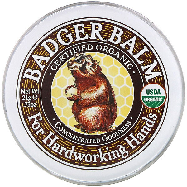Badger Company, バジャーバーム、ハードワーキングハンド、21g(75オンス)