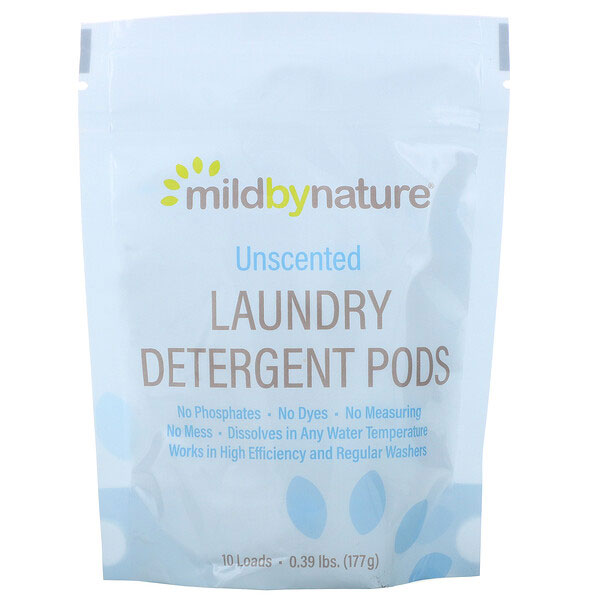 Mild By Nature, 洗濯用洗剤ジェルボール、無香料、10個入り、177g(0.39ポンド)