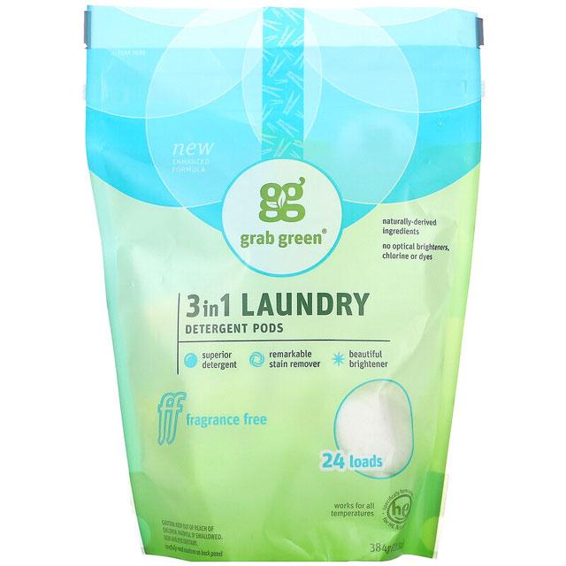 Grab Green, 3-in-1衣類用洗剤ジェルボール、無香料、24回分、384g(13.5オンス)